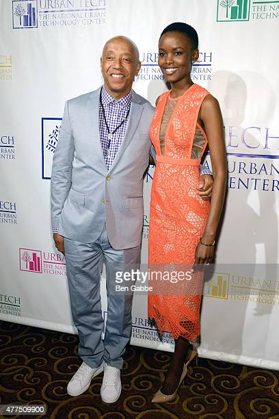 Russell Simmons and model Flaviana Matata attend Breaking Barriers The 20th Anniversary Of The National Urban Technology Center Gala Awards Dinner at...