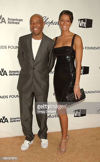 Russell Simmons and Porschla Coleman attend the 16th Annual Elton John AIDS Foundation Oscar Party at the Pacific Design Center on February 24, 2008...