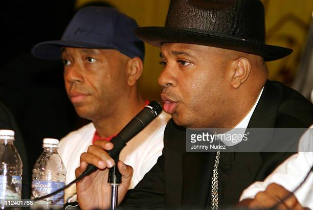 Russell Simmons and Reverend Run during 2004 Hip Hop Summit New Jersey at New Jersey Patriot Theater in Trenton New Jersey United States