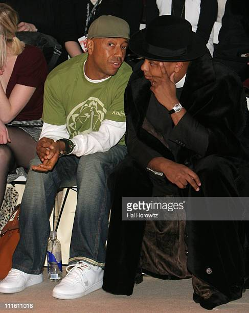 Russell Simmons and Reverend Run during Mercedes Benz Fashion Week Fall 2007 Temperley London Front Row and Backstage at The Promenade Bryant Park in...