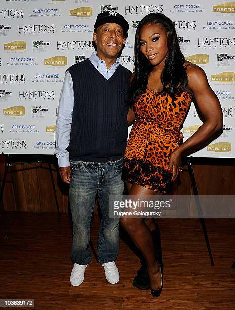 Russell Simmons and Serena Williams attend Hamptons Magazine Cover Party with GREY GOOSE at Pranna Restaurant on August 25 2010 in New York New York