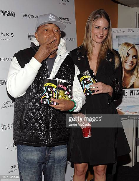 Russell Simmons and supermodel Julie Henderson attend The Cinema Society and Links of London screening of The Mysteries of Pittsburgh at the Landmark...