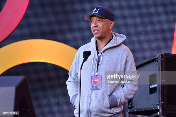 Russell Simmons appears onstage at the 2013 Global Citizen Festival to end extreme poverty in Central Park on September 28 2013 in New York City New...