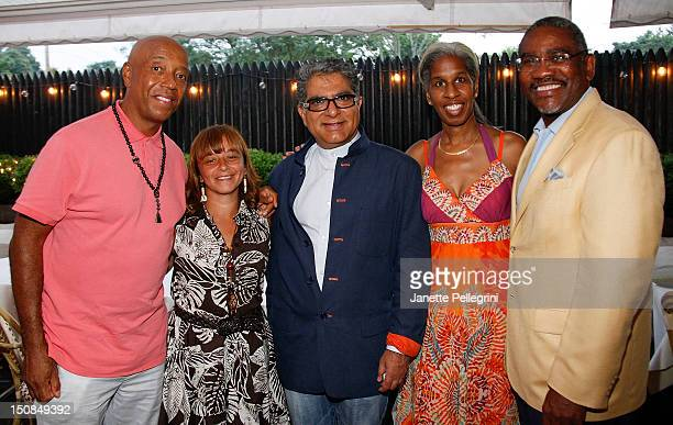 Russell Simmons April Leong Deepak Chopra Erica Ford from Life Camp Inc and Congressman Meeks attend Hamptons Magazine And Morrocanoil Celebrate An...