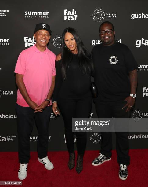 Russell Simmons Ashley Joi Sadler and Poo Bear attend Gushcloud Los Angeles Opening Party at Gushcloud Studio on June 10 2019 in Studio City...