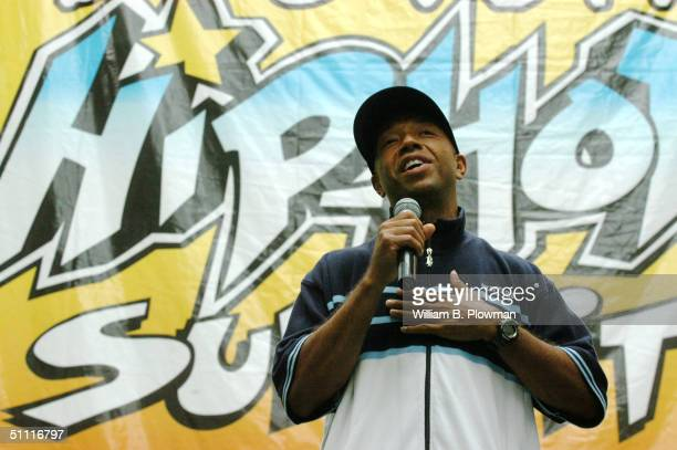 Russell Simmons, chairman of the Hip-Hop Summit Action Network, addresses the audience during a Boston Hip-Hop Summit youth voter registration event...