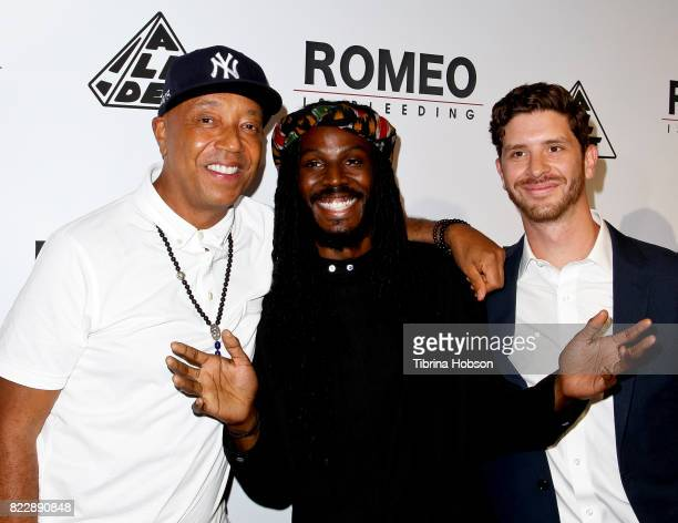 Russell Simmons Donte Clark and Jason Zeldes attend the premiere of 'Romeo Is Bleeding' at The Montalban Theater on July 25 2017 in Los Angeles...