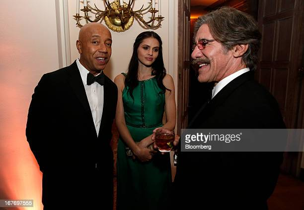 Russell Simmons from left a guest and Geraldo Rivera attend the Bloomberg Vanity Fair White House Correspondents' Association dinner afterparty in...