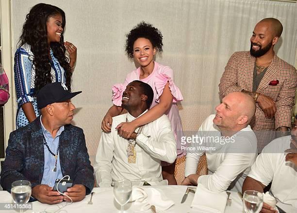 Russell Simmons Karen Civil Elle Varner Meek Mill Kenny Burns and Steve Rifkin attend party at Mr Chow on June 27 2014 in Los Angeles California