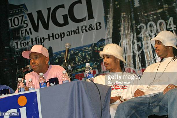 Russell Simmons Layzie Bone and Ludacris during 2004 Chicago HipHop Summit at UIC Pavilion in Chicago Illinois United States