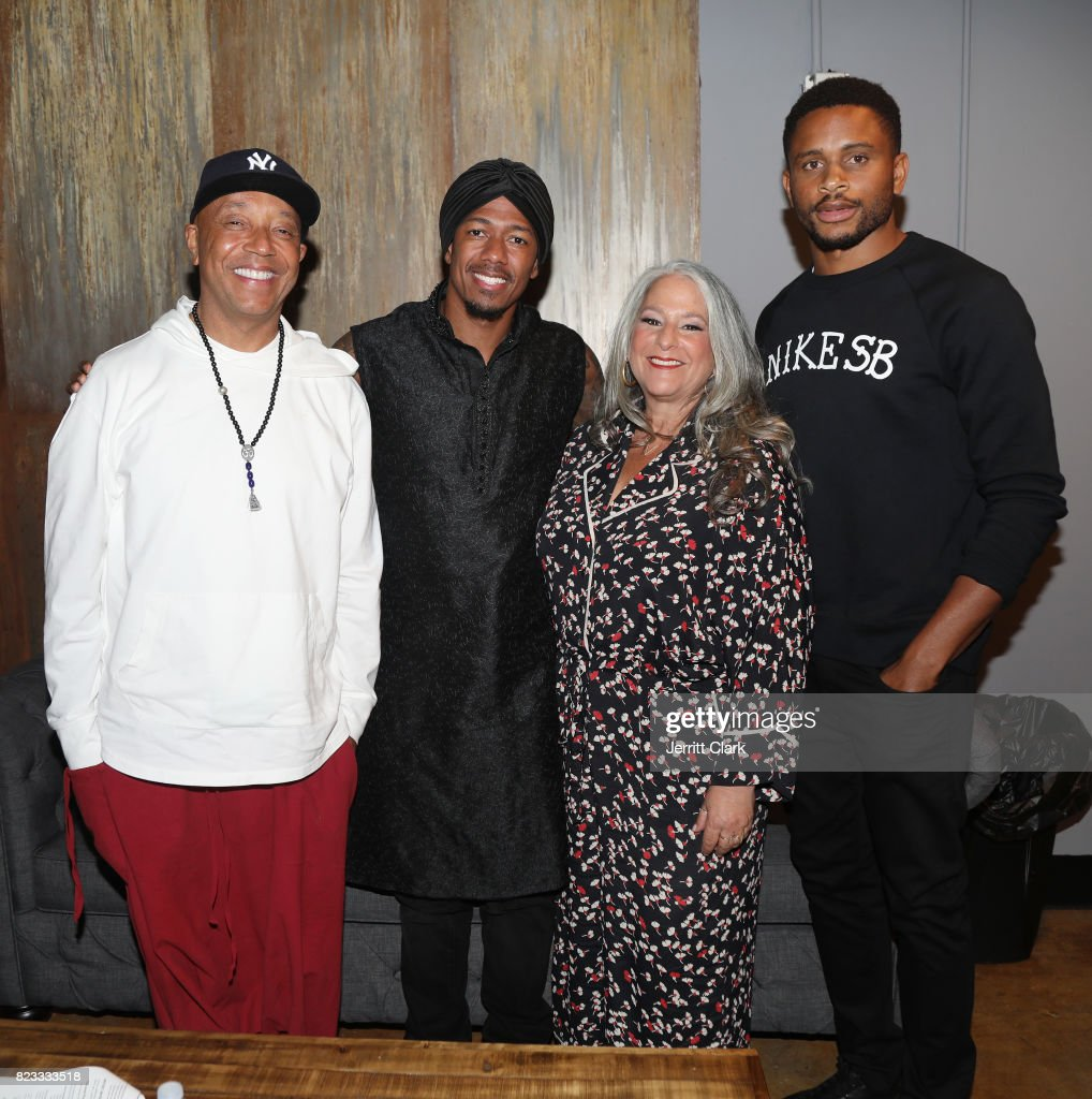 Russell Simmons, Nick Cannon, Marta Kauffman and Nnamdi Asomugha backstage during VAN JONES WE RISE TOUR powered by #LoveArmy at Hollywood Palladium on July 26, 2017 in Los Angeles, California.