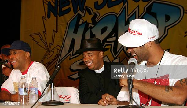 Russell Simmons Reverend Run and Joe Budden during 2004 Hip Hop Summit New Jersey at New Jersey Patriot Theater in Trenton New Jersey United States