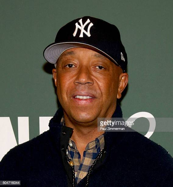 Russell Simmons signs copies of ' The Happy Vegan A Guide To Living A Long Healthy And Successful Life' at Barnes Noble Tribeca on January 12 2016 in...