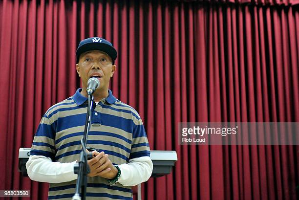 Russell Simmons speaks at a press conference announcing the 1st annual Peace Week at Occasions Banquet Hall on January 15 2010 in Springfield Gardens...