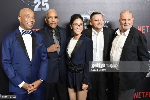 Russell Simmons, Stan Lathan, Lisa Nishimura, Ted Sarandos and Sandy Wernick attend Netflix Presents Def Comedy Jam 25 at The Beverly Hilton Hotel on...
