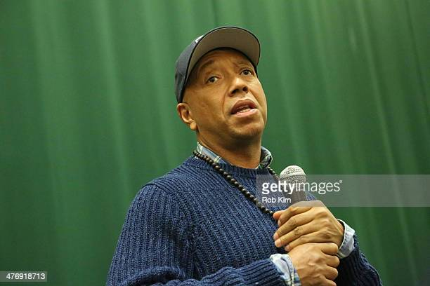 Russell Simmons talks about his new book 'Success Through Stillness Meditation Made Simple' at Barnes Noble Tribeca on March 5 2014 in New York City