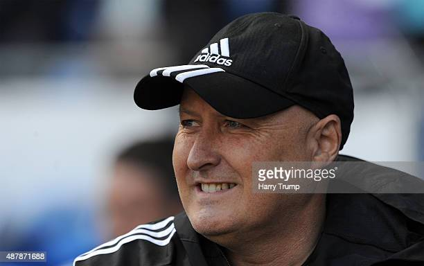 Russell Slade manager of Cardiff City looks on during the Sky Bet Championship match between Cardiff City and Huddersfield at Cardiff City Stadium on...