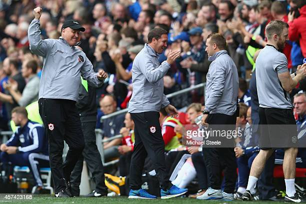 Russell Slade the new manager of Cardiff City celebrates his sides first goal during the Sky Bet Championship match between Cardiff City and...