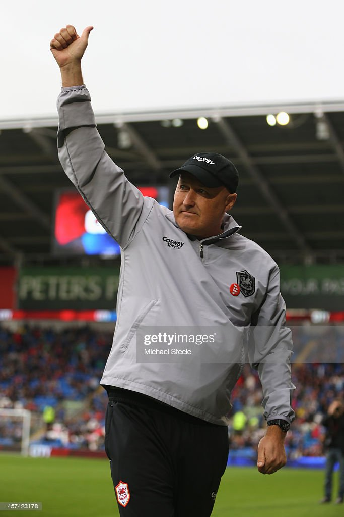 Russell Slade the new manager of Cardiff City gives the thumbs up to the home supporters during the Sky Bet Championship match between Cardiff City and Nottingham Forest at Cardiff City Stadium on October 18, 2014 in Cardiff, Wales.
