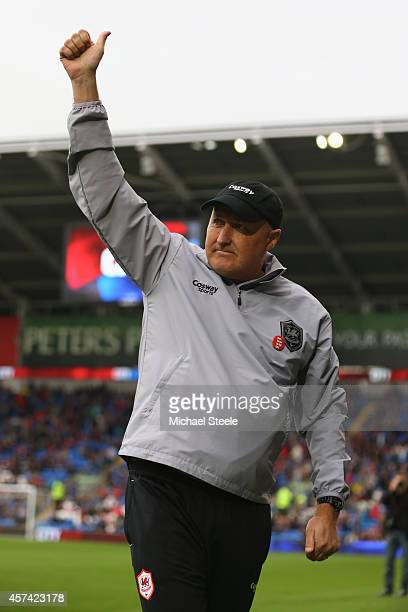 Russell Slade the new manager of Cardiff City gives the thumbs up to the home supporters during the Sky Bet Championship match between Cardiff City...