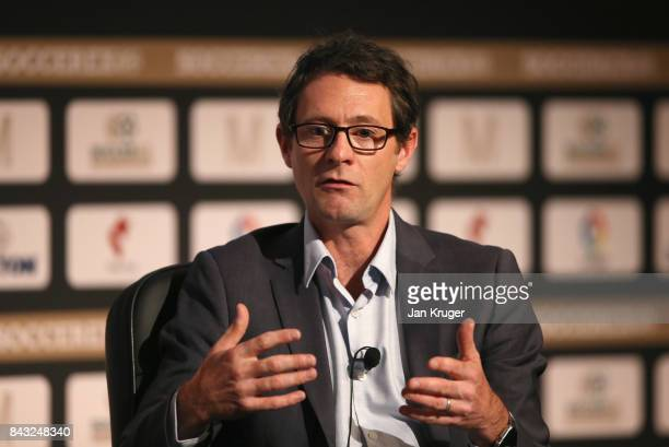 Russell Stopford, FC Barcelona Director of Digital talks during day 3 of the Soccerex Global Convention at Manchester Central Convention Complex on...