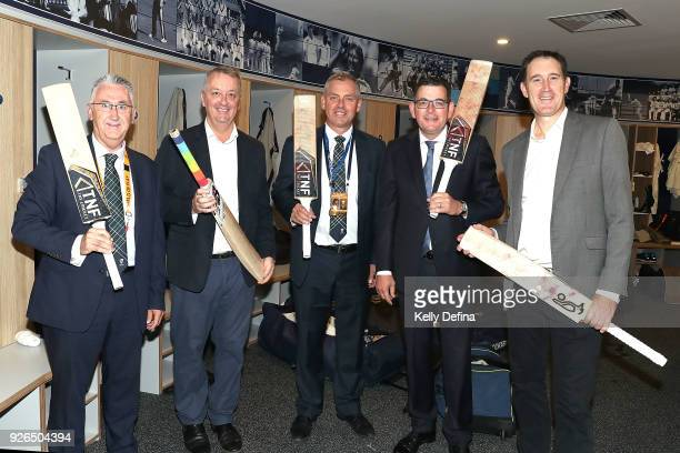 Russell Thomas Martin Foley Tony Dodemaide Victorian Premier Daniel Andrews and James Sutherland pose for a portrait during day one of the Sheffield...