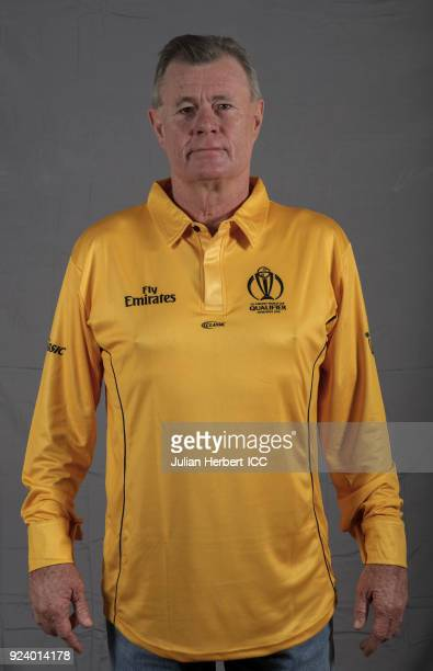 Russell Tiffin ICC Umpire poses for a picture during the Match Officals Portrait Session for the ICC Cricket World Cup Qualifier at The Harare Sports...