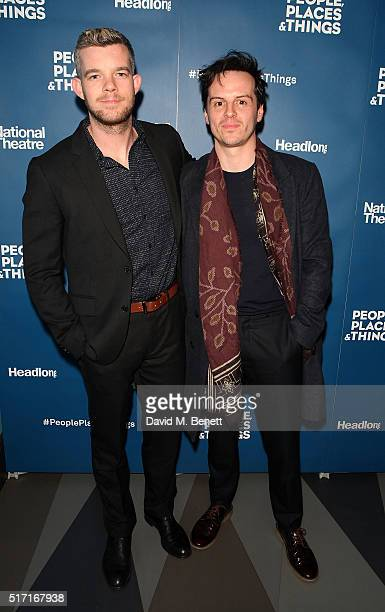 Russell Tovey and Andrew Scott attend the press night after party for People Places and Things at The Picturehouse Central on March 23 2016 in London...