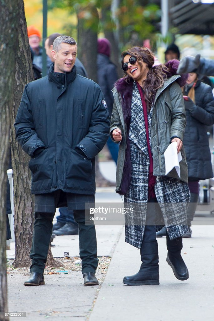 Priyanka Chopra shared a good laugh with co-star Russell Tovey on set of 'Quantico' on Tuesday.
