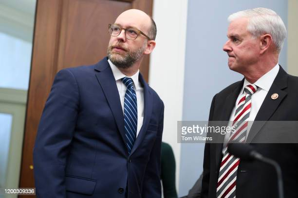 Russell Vought left acting director of the Office of Management and Budget talks with ranking member Rep Steve Womack RArk before the House Budget...