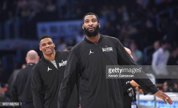 Russell Westbrook and Andre Drummond of Team LeBron warm up prior to the NBA AllStar Game 2018 at Staples Center on February 18 2018 in Los Angeles...