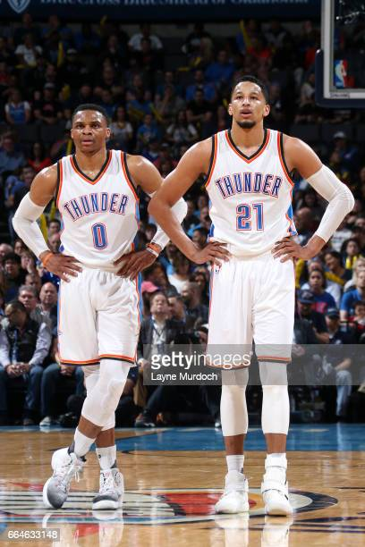 Russell Westbrook and Andre Roberson of the Oklahoma City Thunder look on during the game against the Milwaukee Bucks on April 4 2017 at Chesapeake...