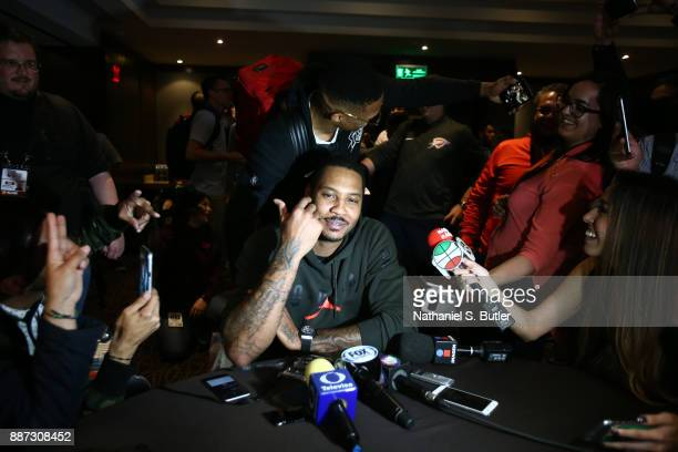 Russell Westbrook and Carmelo Anthony of the Oklahoma City Thunder speaks to the media as part of the NBA Mexico Games 2017 on December 6 2017 at the...