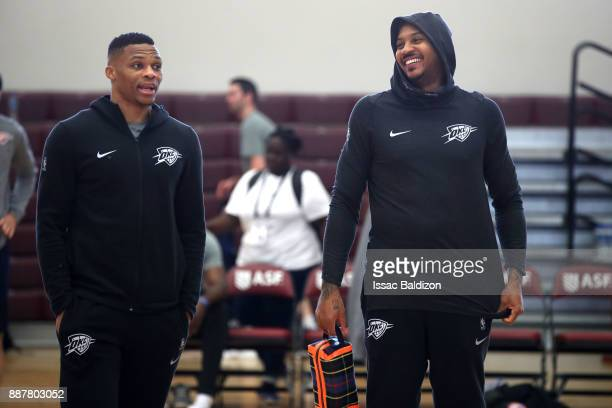 Russell Westbrook and Carmelo Anthony of the Oklahoma City Thunder during shoot around as part of the NBA Mexico Games 2017 on December 7 2017 at the...