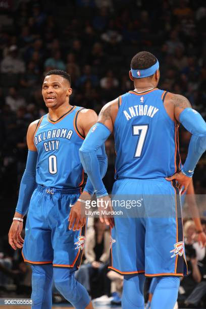 Russell Westbrook and Carmelo Anthony of the Oklahoma City Thunder celebrate during the game against the Los Angeles Lakers on January 17 2018 at...