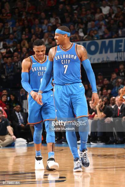 Russell Westbrook and Carmelo Anthony of the Oklahoma City Thunder reacts to a play during the game against the Cleveland Cavaliers on February 13...