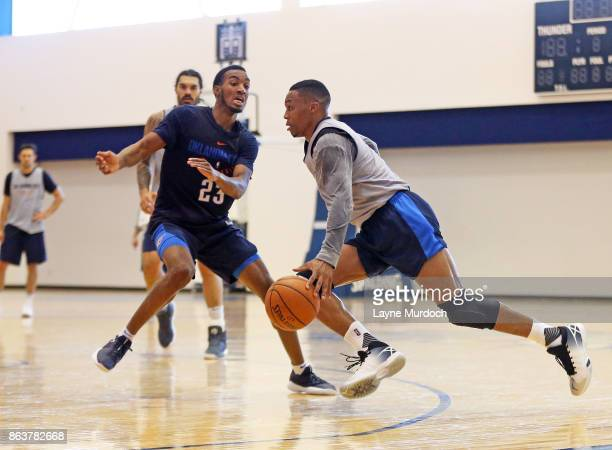 Russell Westbrook and Daniel Hamilton of the Oklahoma City Thunder participate in a practice on October 13 2017 at the Integris Thunder Development...