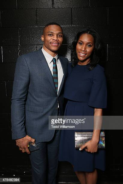 Russell Westbrook and fiance Nina Earl attend the 2015 CedarsSinai Sports Spectacular at the Hyatt Regency Century Plaza on May 31 2015 in Century...