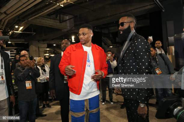 Russell Westbrook and James Harden of team LeBron arrive to the arena prior to the NBA AllStar Game as a part of 2018 NBA AllStar Weekend at STAPLES...