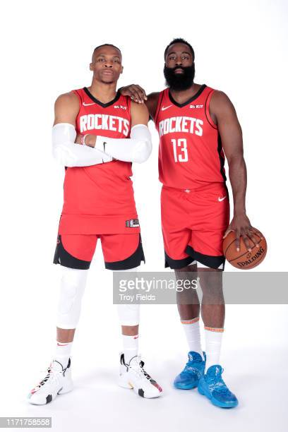 Russell Westbrook and James Harden of the Houston Rockets pose for a portrait during media day on September 27 2019 at The Post Oak Hotel in Houston...