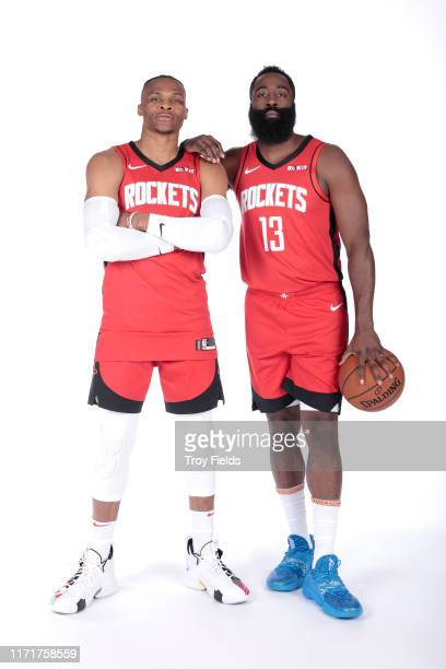 Russell Westbrook and James Harden of the Houston Rockets pose for a portrait during media day on September 27, 2019 at The Post Oak Hotel in...