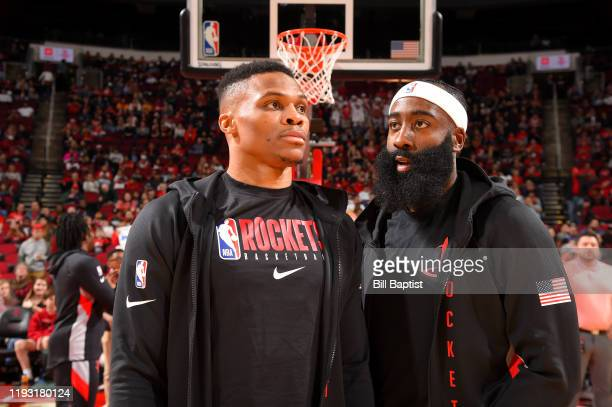 Russell Westbrook and James Harden of the Houston Rockets talk before the game against the Minnesota Timberwolves on January 11 2020 at the Toyota...