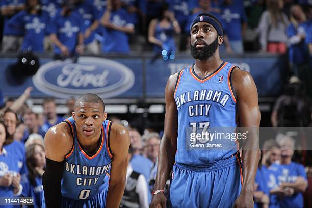 DALLAS TX MAY Russell Westbrook and James Harden of the Oklahoma City Thunder during the game against the Dallas Mavericks during Game One of the...