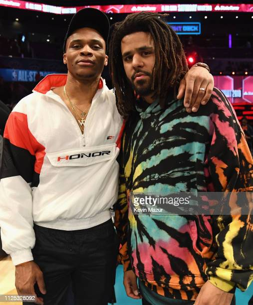 Russell Westbrook and JCole attend the 2019 State Farm AllStar Saturday Night at Spectrum Center on February 16 2019 in Charlotte North Carolina