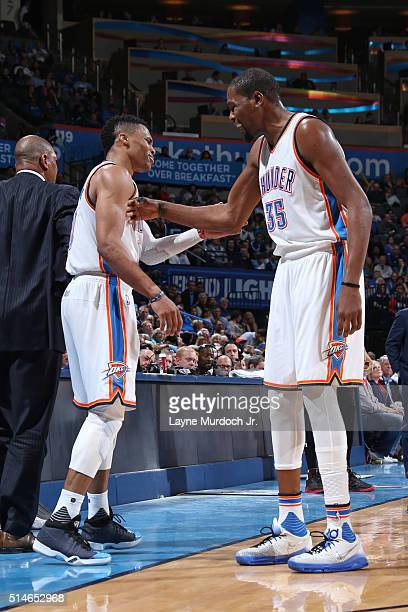 Russell Westbrook and Kevin Durant of the Oklahoma City Thunder during the game against the Los Angeles Clippers on March 9 2016 at Chesapeake Energy...