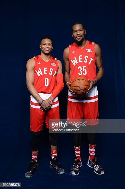 Russell Westbrook and Kevin Durant of the Western Conference AllStars team pose for a portrait before the NBA AllStar Game on February 14 2016 at the...