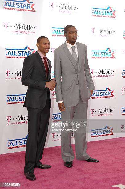 Russell Westbrook and Kevin Durant of the Western Conference arrive before the game against the Eastern Conference during the 2011 NBA AllStar Game...