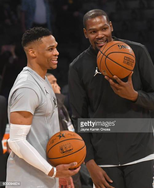 Russell Westbrook and Kevin Durant warm up during the NBA AllStar Game 2018 at Staples Center on February 18 2018 in Los Angeles California