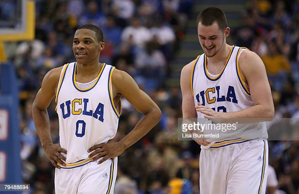 Russell Westbrook and Kevin Love of the UCLA Bruins celebrate during game against the Arizona Wildcats at Pauley Pavilion on February 2 2008 in...