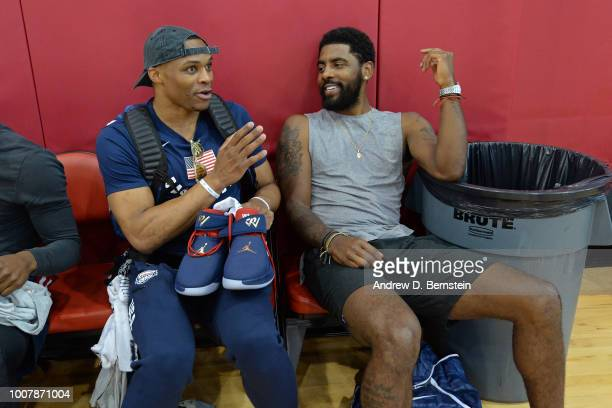 Russell Westbrook and Kyrie Irving get ready before USAB Minicamp at Mendenhall Center on the University of Nevada Las Vegas campus on July 27 2018...
